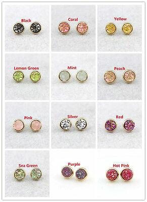 Bronze Custom Rainbow Druzy Earrings Rose Gold Faux Geode Jewelry Aurora Green Studs Gunmetal Silver Choose Size and Base Metal