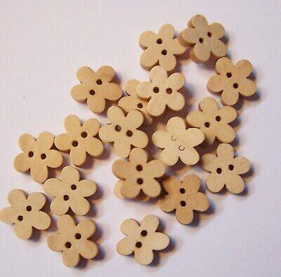 """D105 25mm Scrapbook Craft Geometric FLOWER 2-hole Wood Button 1/"""""""
