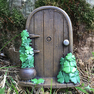 Irish fairy door st patricks day garden clover ornament for Irish fairy garden