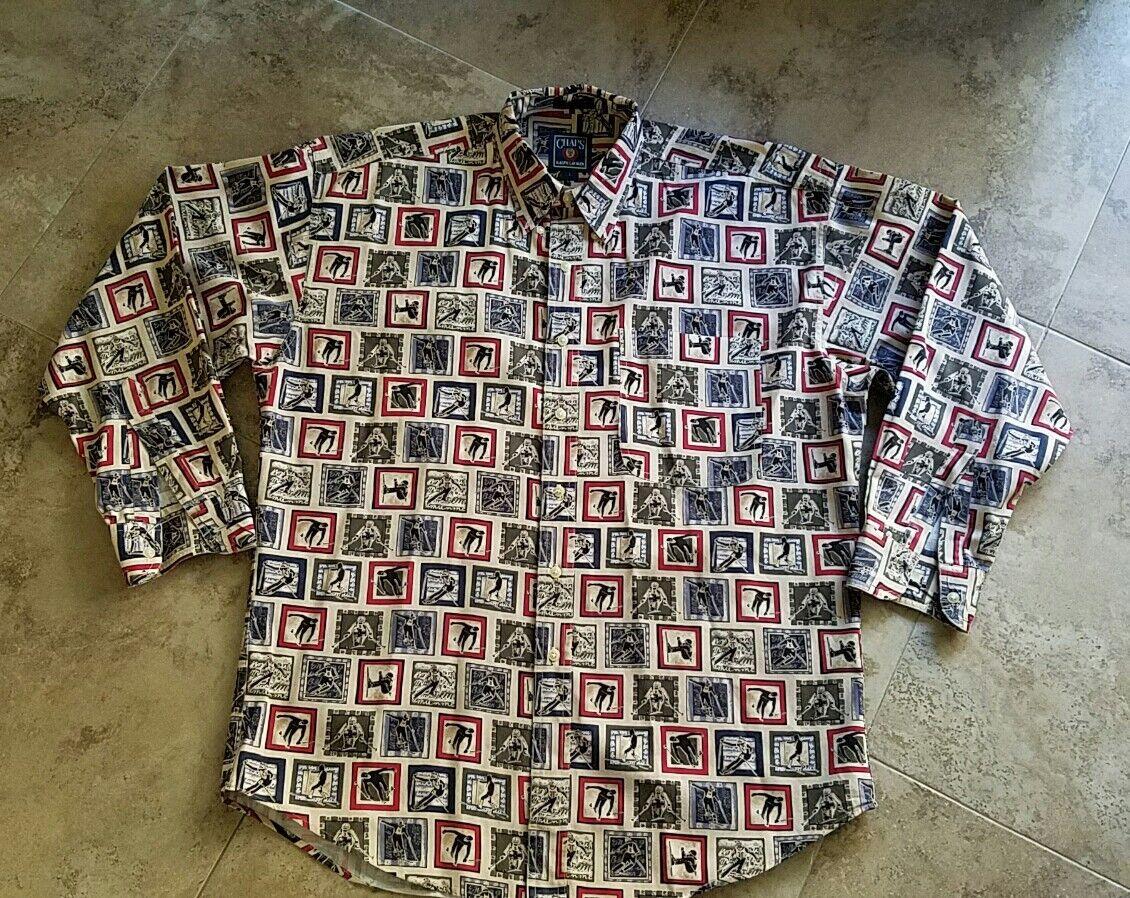 Vintage 90s Chaps Ralph Lauren Ski Long Sleeve Shirt Men Size L