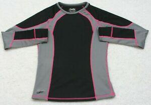 Cabela-039-s-Black-Gray-amp-Pink-Crewneck-Tee-T-Shirt-Top-Long-Sleeve-Medium-Womans