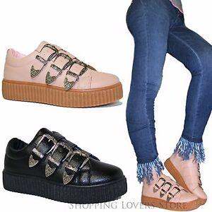 Scarpe-donna-Sneakers-Fibbie-Platform-Rialzo-Gomma-Zeppa-4-cm-Ginnastica-A97