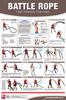 Battle Rope Exercises Professional Fitness Health Club Gym Wall Chart Poster