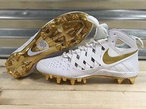 super popular 59f48 e3eb6 Image is loading Nike-Huarache-5-Lacrosse-Cleats-White-Metallic-Gold-