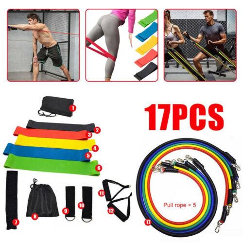 17 Pcs//Set Latex Bandes De Résistance Crossfit Formation Exercice Yoga Tubes Avec Sac