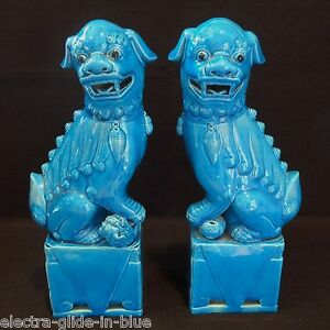 VINTAGE PAIR OF CHINESE TURQUOISE GLAZE TEMPLE DOGS - Bedford, United Kingdom - VINTAGE PAIR OF CHINESE TURQUOISE GLAZE TEMPLE DOGS - Bedford, United Kingdom