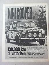 ADVERTISING PUBBLICITA' MINI COOPER S 130.000 KM DI VITTORIE  -- 1966
