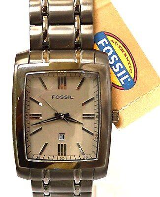 NWT Fossil FS4316 Gunmetal Grey IP Stainless Steel Bracelet Grey Dial Men's