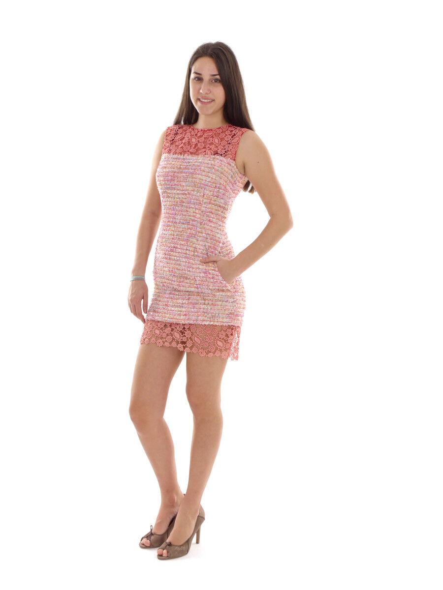 Richard Kravetz Robe Robe D'été Robe tricot rose motif dentelle
