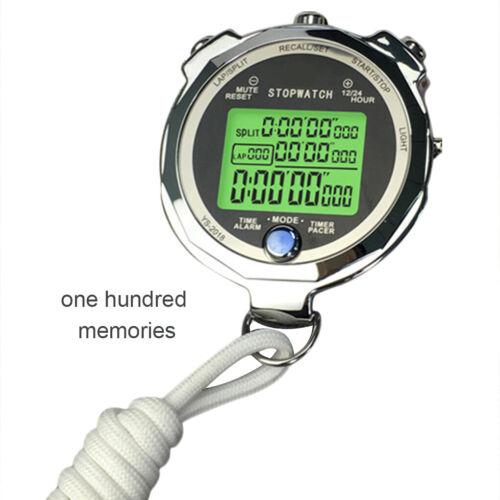 Backlight Stopwatch Metal Athletic Training Digital Timer 1//1000th Chronograph