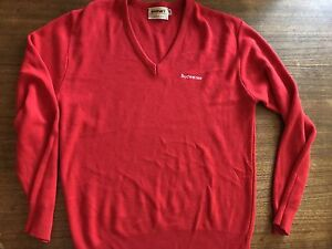 Vintage Budweiser Men's Signet V-Neck Pullover Sweater Sz L Red ...
