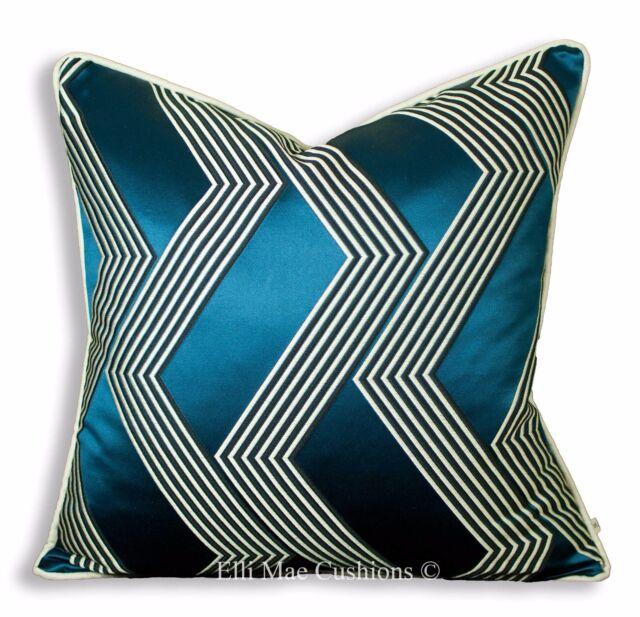 Dedar Funky Stripe Designer Blue Black Luxury Cushion Pillow Cover