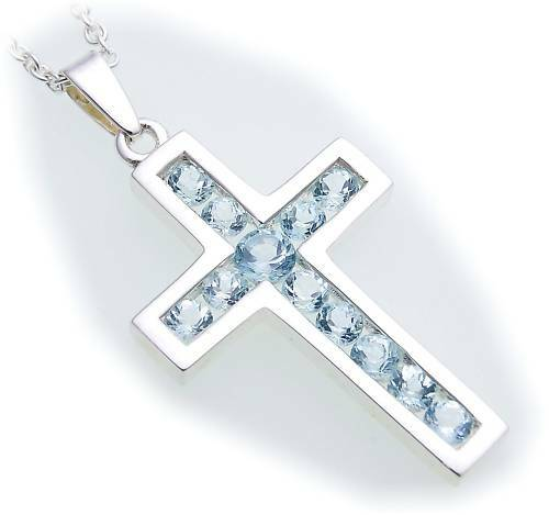 Colgante cruz Aquamarin real plata 925 45 mm Sterling plata unisex