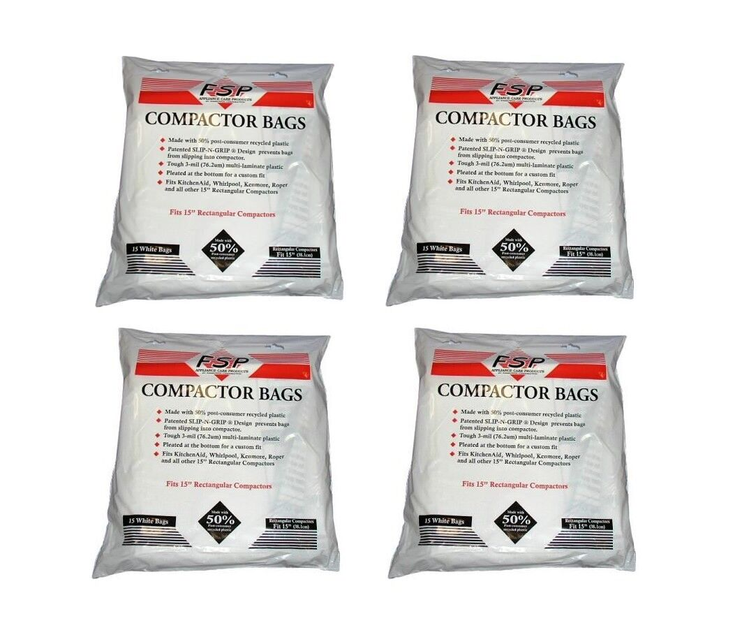 (60) Trash Compactor Bags W10165295RP Whirlpool Kenmore 15  Plastic - NEW