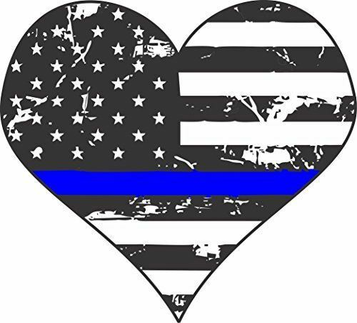 Thin Blue Line Police Heart Sticker Made in USA!