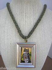 """Beautiful Miniature 1""""x 1 1/2"""" signed Painting Great Horned Owl Pendant Necklace"""