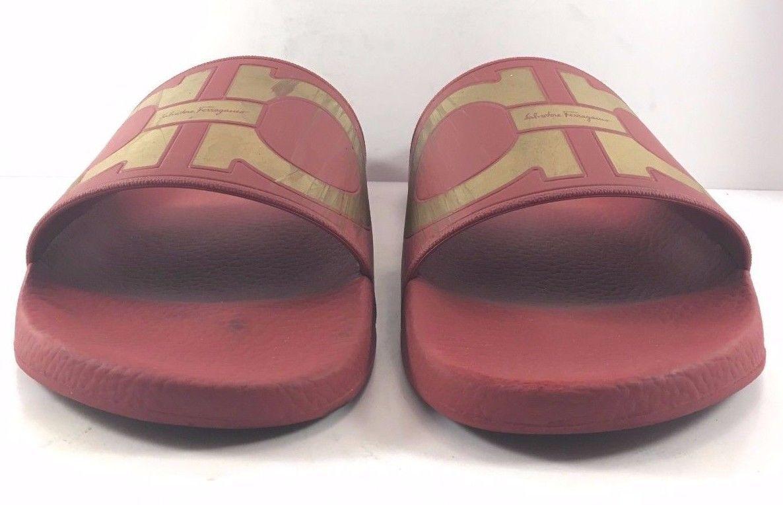 Salvatore Ferragamo Red & gold Groove Slide Slide Slide Sandals Mens Size US 10M   EUR 9M f55f18