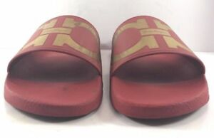 65e157b0377205 Salvatore Ferragamo Red   Gold Groove Slide Sandals Mens Size US 10M ...