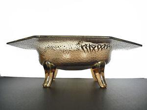 Coupe en verre  et émail doré à décors japonisant vers 1930 28 cm cup with bird