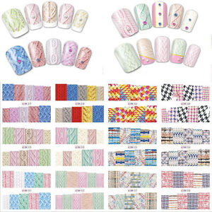 12-Entwuerfe-Winter-Pullover-Material-Nail-Sticker-Bunte-Full-Tips-Wraps-NEU