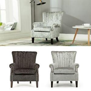 Olenka Crushed Velvet Wing Back Occasional Bedroom Accent Chair ...