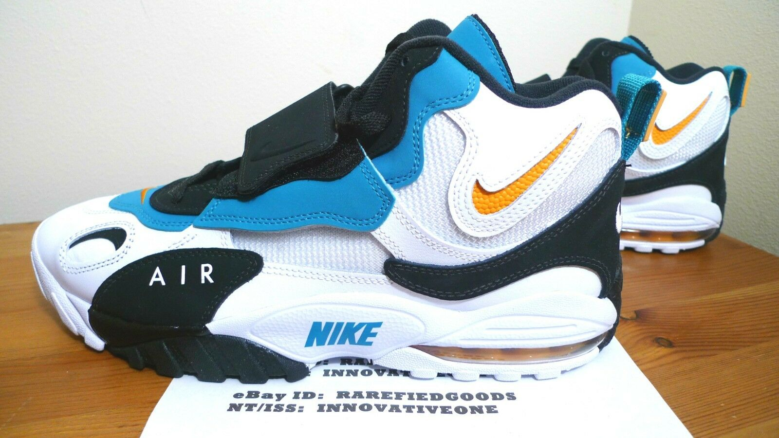 NIKE AIR MAX SPEED TURF 525225-100 DAN MARINO DOLPHINS WHITE TEAL orange SZ 11.5
