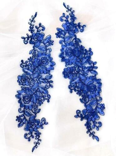 """Lace Embroidered Rose Cluster Appliques Mirror Pair Blue Floral 13/"""" DH129X"""