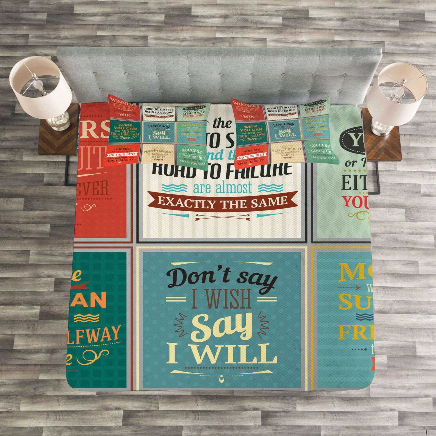 Quote Quilted Bedspread & Pillow Shams Set, Uplifting Wise Messages Print