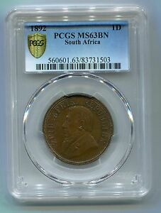 South-Africa-ZAR-PCGS-Graded-1892-Kruger-Penny-MS-63-BN-Scarce-in-this-Grade