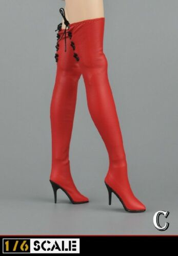 1//6 Female High Heels Boots Shoes Lace-up Boots For 12/'/' Action Figure OS001 Toy