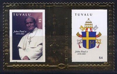 Gold Pope John Paul Ii Block 158 Mnh Tuvalu 2010 Papst Johannes Paul Ii Europa Tuvalu