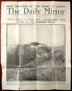 Daily-Mirror-Front-Page-22-Nov-1916-First-Pictures-of-Tanks-In-Action