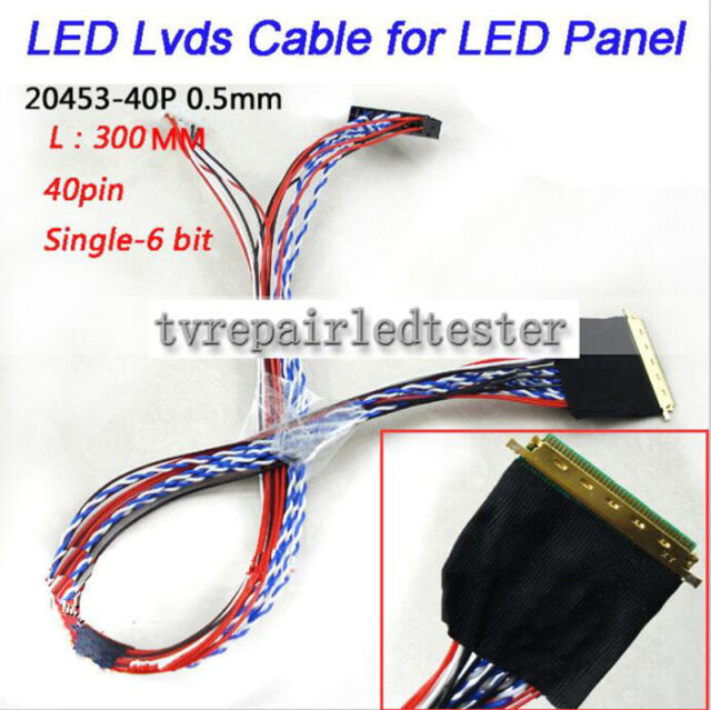 I-PEX 20453-20455 40Pin 1ch 6bit 0.5mm LVDS Cable for 10.1/14/15.6 LED LCD Panel