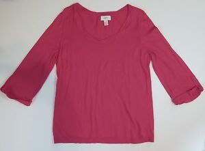 Ann-Taylor-Loft-Women-039-s-Size-Large-Pink-3-4-Sleeve-Knit-Sweater-Light