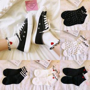Lace-Trim-Ankle-Wave-Stripe-Socks-Lady-Casual-College-Sports-Soft-Cotton-Socks