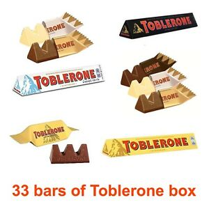 Details About 33i Bars White Dark Chocolate Toblerone Great Hamper Present Box Birthday Swiss