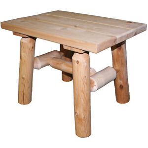 Details About End Side Table Cedar Log Accent Outdoor Rustic Patio Deck Furniture Wood Brown