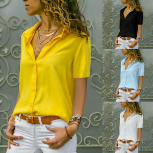 Women-Chiffon-Solid-T-Shirt-Office-V-Neck-Plain-Short-Sleeve-Blouse-Top-Cool-US