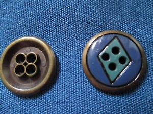 24-alte-Metallknoepfe-18-mm-Durchmesser-Tuerkis-Blau-Schwarz-Raute
