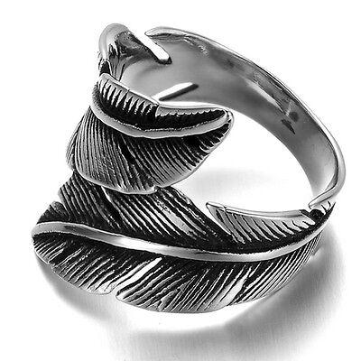 Stainless Steel Men's Ring , Color Black Silver, Biker, Feather, Vintage R669