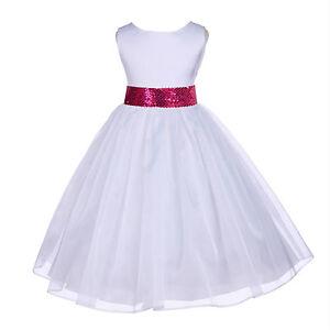 0e2ff8342bb4 SPECIAL WHITE MESH SASH FLOWER GIRL DRESS PAGEANT WEDDING BRIDESMAID ...