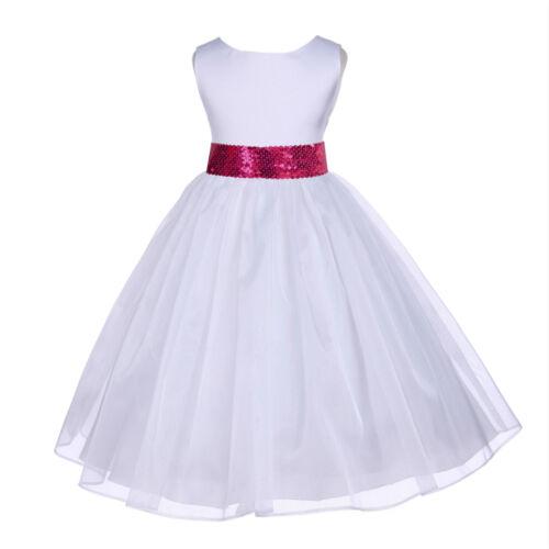 SPECIAL WHITE MESH SASH FLOWER GIRL DRESS PAGEANT WEDDING BRIDESMAID CHILDREN