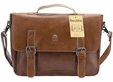 Vintage Leather Briefcase Messenger Bag Laptop Shoulder Men Satchel School Bags.