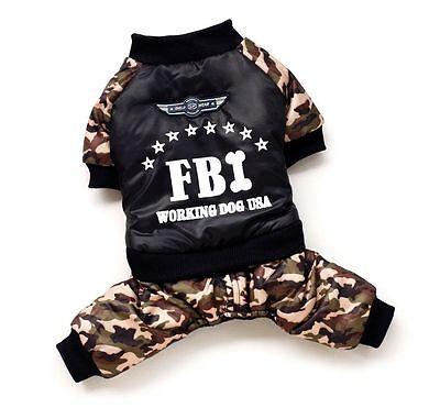 New FBI Camflauge Costume WinterCoat Sweater Jumpsuit Pet Small Boy Dog Clothes