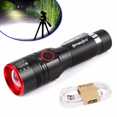 T6 COB Flashlight Zoomable LED 18650 USB Rechargeable Light Lamp Torch