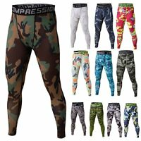 Mens Compression Base Layer Camo Pants Under Skin Sports Gear Leggings Fitness
