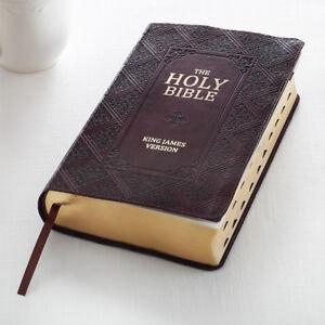 Procura-Santa-Biblia-King-James-Version-Marron-Oscuro-Nuevo-impresion-del-pulgar-indexados-gigante