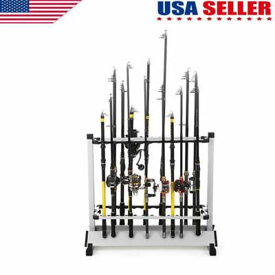 Black Fishing 24 Rod Rack Pole Holder Aluminum Alloy Stand Storage Tool US Stock