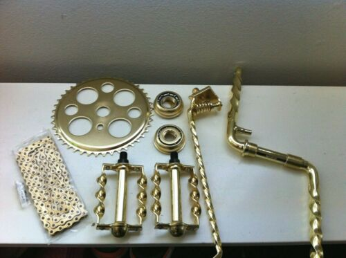 "Gold Twisted Crank Package 6 Items for 26/"" Lowrider Cruiser Bikes New"