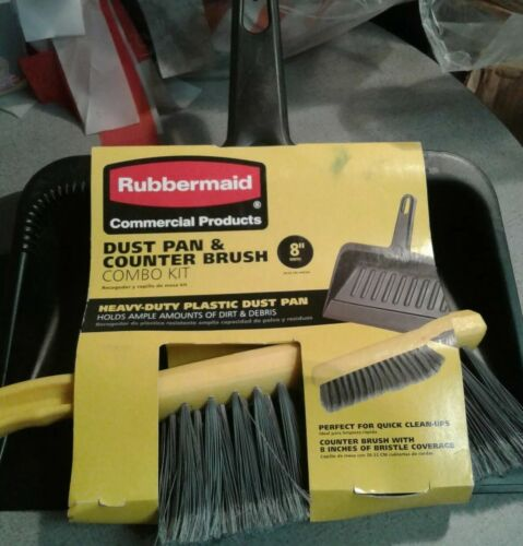 """LIMITED EDITION RUMMERMAID Commercial DUST PAN AND COUNTER BRUSH COMBO KIT 8/"""" WI"""